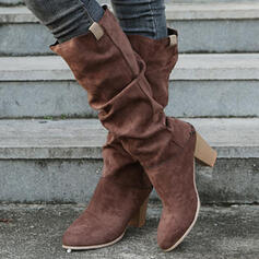 Women's Suede Chunky Heel Boots Mid-Calf Boots With Solid Color shoes