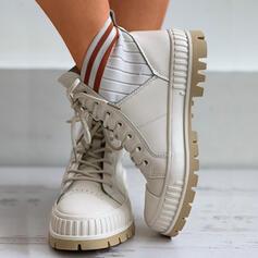 De mujer Tela Tacón plano Botas al tobillo con Cordones Banda elástica zapatos