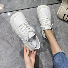 Women's PU Flat Heel Flats Low Top Square Toe With Lace-up Solid Color shoes