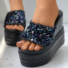De mujer PU Tipo de tacón Sandalias Plataforma Cuñas Encaje Pantuflas con Brillo Chispeante zapatos