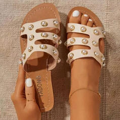 Women's PU Flat Heel Sandals Flats Peep Toe Slippers Round Toe With Beading Hollow-out shoes