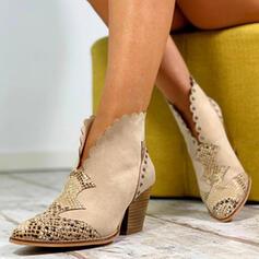 Women's PU Chunky Heel Boots With Rivet Animal Print shoes