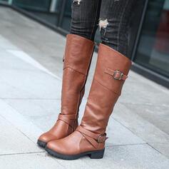 De mujer PU Tacón plano Botas a la rodilla Encaje con Hebilla Cremallera Color sólido zapatos