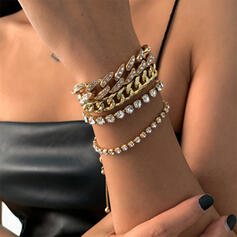 Sexy Charming Artistic With Rhinestone Gold Plated Women's Ladies' Bracelets 4 PCS