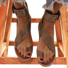 Women's Leatherette Flat Heel Sandals Toe Ring With Buckle shoes