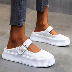 Women's Canvas Flat Heel Flats Round Toe With Solid Color shoes