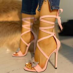 Women's PU Stiletto Heel Pumps Peep Toe With Rhinestone Hollow-out Crisscross shoes