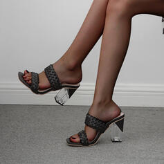 Women's PU Stiletto Heel Sandals Pumps Square Toe With Braided Strap shoes