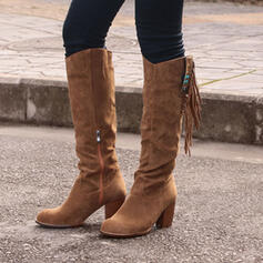 Women's Suede Flat Heel Knee High Boots Round Toe With Ruched Tassel Solid Color shoes