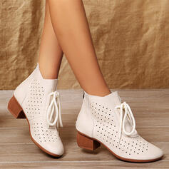 Women's PU Chunky Heel Boots Ankle Boots Low Top With Lace-up Hollow-out Solid Color shoes
