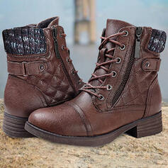 Women's PU Chunky Heel Sock Boots With Zipper Lace-up Solid Color shoes
