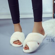 De mujer Ante Cuero Tacón plano Sandalias Encaje Pantuflas con Piel zapatos