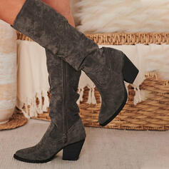 Women's Suede Chunky Heel Mid-Calf Boots Riding Boots Pointed Toe With Ruched Zipper Solid Color shoes
