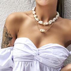 Atractivo En capas Aleación Perla con Perlas de imitación Collares 2 piezas