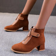 Women's Cloth Chunky Heel Ankle Boots Round Toe With Zipper Splice Color shoes