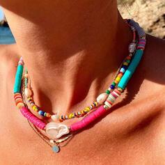 Bohemio En capas Aleación Arcilla suave con Perlas de imitación Cáscara Sistemas de la joyería Collares Pulseras (Juego de 3)