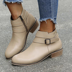 Women's Leatherette Chunky Heel Ankle Boots With Solid Color shoes