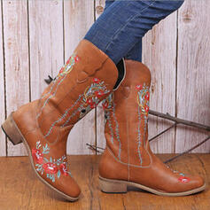 Women's PU Flat Heel Boots Mid-Calf Boots With Floral Print shoes