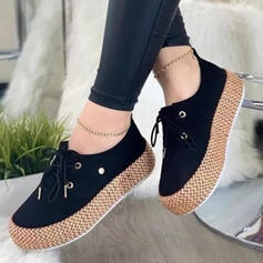 Women's PU Flat Heel Flats Round Toe Espadrille With Lace-up Print shoes