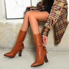 Women's PU Cone Heel Mid-Calf Boots Pointed Toe With Zipper Lace-up shoes