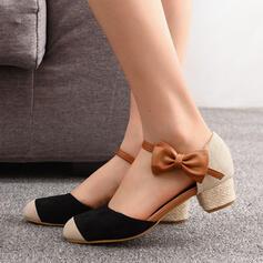 De mujer Ante Tacón ancho Salón Encaje con Bowknot Color de empalme zapatos