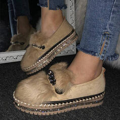 Women's Suede Flat Heel Flats Round Toe Slip On With Faux-Fur shoes