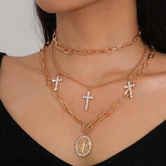 Fashionable Sexy Vintage Alloy With Rhinestone Women's Ladies' Necklaces 3 PCS