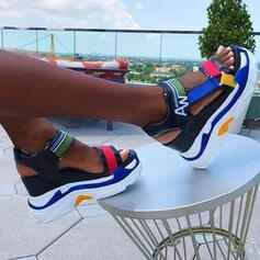 Women's Microfiber Leather Wedge Heel Sandals With Hollow-out Velcro Splice Color shoes