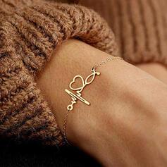 Simple Heart Valentine's Day ECG Alloy Women's Bracelets