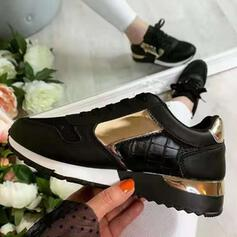 Women's Mesh Flat Heel Flats Sneakers With Lace-up Splice Color shoes