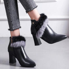 Women's Leatherette Chunky Heel Ankle Boots With Zipper Faux-Fur shoes