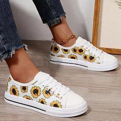 Women's PU Flat Heel Flats Round Toe With Flower Print shoes