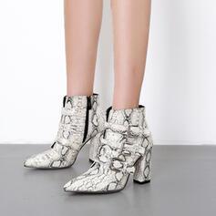 De mujer Cuero Tacón ancho Cima mas alta con Hebilla Estampado de animales Cremallera zapatos