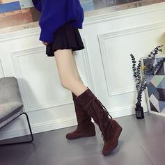 De mujer Cuero Tacón plano Botas a la rodilla Dedo del pie puntiagudo con Color sólido zapatos