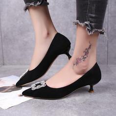 De mujer PU Tacón stilettos Salón Dedo del pie puntiagudo con Rhinestone zapatos