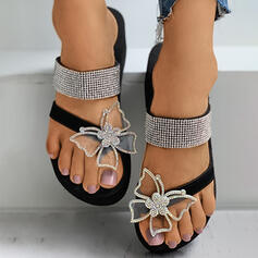 Women's Leatherette Silk Like Satin Wedge Heel Sandals Flip-Flops Slippers Toe Ring With Rhinestone Applique Butterfly shoes