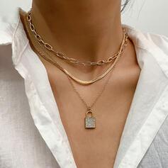 Fashionable Classic Simple Alloy Rhinestones With Rhinestones Women's Ladies' Necklaces 3 PCS