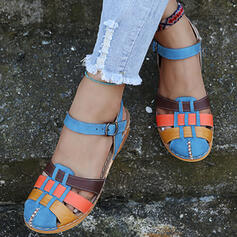 Women's PU Flat Heel Sandals Closed Toe With Hollow-out Splice Color shoes