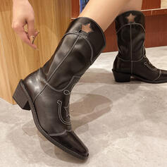 Women's Leatherette Chunky Heel Mid-Calf Boots With Solid Color Embroidery shoes