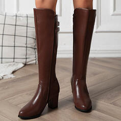 Women's PU Chunky Heel Boots With Buckle Solid Color shoes