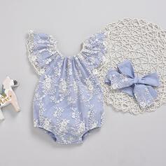 2 piezas Bebés niñas Floral Encaje Algodón Configura El Tamaño