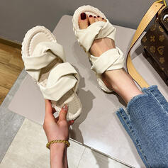 Women's PU Flat Heel Sandals Flats Peep Toe Slippers Round Toe With Ribbon Tie Ruched shoes
