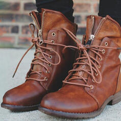 Women's PU Low Heel Boots Martin Boots With Zipper Lace-up Solid Color shoes