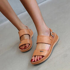 Women's PU Low Heel Sandals Peep Toe With Buckle Hollow-out shoes