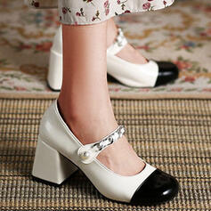 Women's PU Chunky Heel Pumps Heels Round Toe With Rhinestone Buckle Splice Color shoes