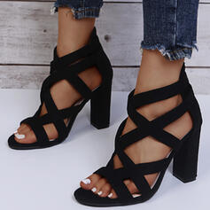 Women's PU Chunky Heel Sandals Pumps Peep Toe With Hollow-out Solid Color shoes