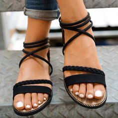 Women's PU Flat Heel Sandals Peep Toe With Hollow-out Braided Strap Solid Color shoes