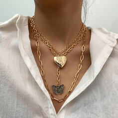 Fashionable Vintage Alloy With Butterfly Heart Women's Ladies' Necklaces 3 PCS