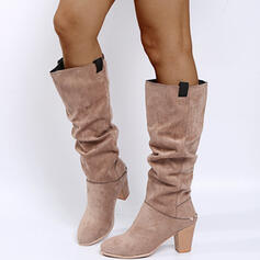 Women's PU Chunky Heel Knee High Boots Martin Boots Pointed Toe With Ruched Zipper shoes