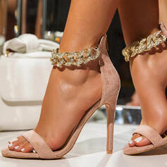 Women's Suede Stiletto Heel Sandals Pumps Peep Toe With Chain Hollow-out Solid Color shoes